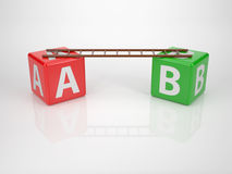 From A to B - Series Letter Dices. Letters A and B with Ladder - Series Letter Dices Vector Illustration