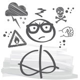 To be in a bad temper. Closeup portrait of angry Stick figure Stock Photography