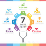 7 to be great infographic. Success way concept. Can be used for layout, web design, brochure, flyer, leaflet, poster, template, Vector illustration royalty free illustration