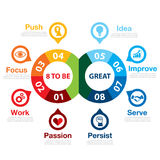 8 to be great. Infographic. Success way concept. Can be used for layout, web design, brochure, flyer, leaflet, template, infographics Vector illustration Stock Illustration