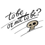 To be or not to be. Question Hamlet Shakespeare skull royalty free illustration