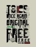 `to be once again original free`  typography, tee shirt graphics stock illustration