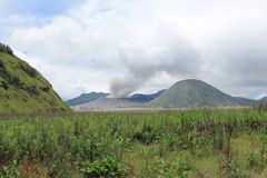 Volcano Mount Bromo Eruption, East Java Indonesia. To be reputed to be one of the most beautiful landscape in the world Royalty Free Stock Photo