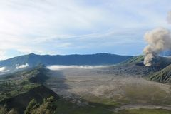 Volcano Mount Bromo Eruption, East Java Indonesia. To be reputed to be one of the most beautiful landscape in the world Stock Photos