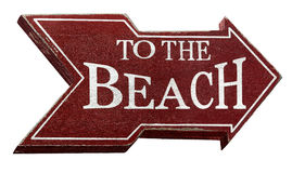 To the beach sign isolated on white with clipping path Stock Photography