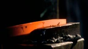 To bend, flatten, handicraft, master, anvil, treatment stock footage