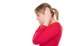 To block the ears Stock Photography