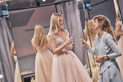 To the bride! Attractive young women toasting each other and smi Royalty Free Stock Photos