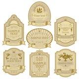 tło brązowe złote ilustracyjne odosobnione etykiety białe wektor gotowe srebra Obraz Stock