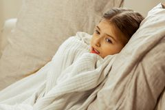 Little sick girl wrapped in a blanket lying in bed. To catch a cold. Little cute pretty sick brown-haired girl with a high temperature wrapped in a white royalty free stock images