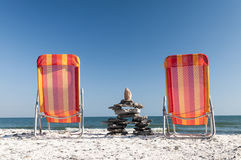 To Chairs At The Beach Royalty Free Stock Images