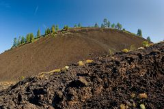 To the Cinder Cone. Photo of lava that leads to 600 foot cinder cone at the Newberry National Volcanic Monument, near Bend, Oregon, USA stock image