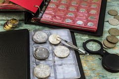 To collect old coins. Silver coin of England royalty free stock photos