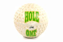 To commemorate that special shot. Hole in One ball on white Royalty Free Stock Photos