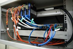 Network equipment in small rack royalty free stock photo