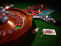 To consume cocaine is as to play russian roulette. A Casino roulette, some cocaine, a revolver and some bullets on the table, illustrating the danger of cocaine vector illustration