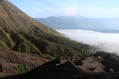 To the crater of Mount Bromo. While hiking to the crater of Mount Bromo in Indonesia stock photos