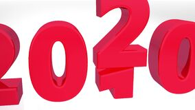 2019 to 2020 3d countdown in red