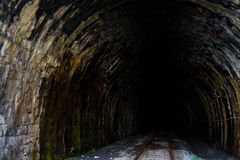 To the darkness. Tunnel on the round baikal railroad Royalty Free Stock Images