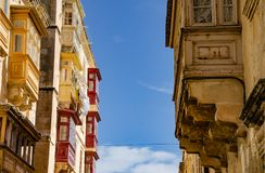 Beautiful Maltese balconies in Valetta, Malta. To this day, balconies are still very much part of the Maltese way of life. They are the medium through which Royalty Free Stock Photos