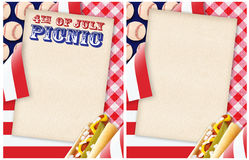 4to de la invitación de la comida campestre de julio imagen de archivo