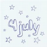 4to de la tarjeta greating de julio stock de ilustración