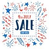 4to de la venta de julio Aviador del Día de la Independencia Imagen de archivo libre de regalías
