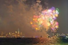 4to de los fuegos artificiales de julio en Nueva York Fotos de archivo libres de regalías