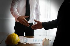 To dealing with engineer. To building the house Stock Photography