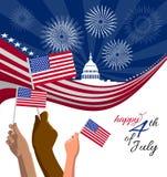 4to del cartel del Día de la Independencia de julio, de la bandera o de la tarjeta de felicitación ilustración del vector