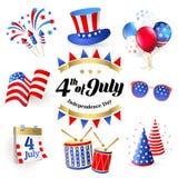 4to del Día de la Independencia de julio de los Estados Unidos de América Cartel, bandera ilustración del vector