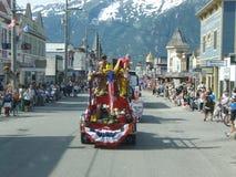 4to del desfile Skagway Alaska de julio Foto de archivo libre de regalías