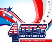 4to del fondo americano de la onda del Día de la Independencia de julio ilustración del vector
