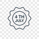 4to del icono linear del vector del concepto de julio aislado en b transparente stock de ilustración