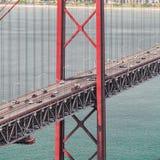 25to del puente de abril en Lisboa Panorama Imagen de archivo libre de regalías