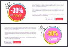 From 30 to 50 Discount at Internet Shop Pages. From 30 to 50 discount at Internet shop web pages templates with sample text and bright round discount promo Royalty Free Stock Images
