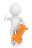 To do concept. 3d person with orange thumbtack Royalty Free Stock Photos