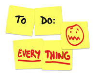 To Do Everything Words Sticky Notes Stress Overworked Stock Photography