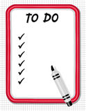 To Do List. Copy space to create your own to do list on this red frame dry erase white board with check marks, marker pen on grid background for home, office or Stock Images
