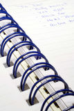 To Do List. This is a close up image of a to-do list in a spiral bound notebook royalty free stock photography