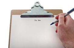 To Do List. Blank to do list on clip board Royalty Free Stock Image