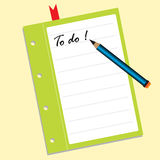 To do list. Abstract colorful illustration with a blue pencil and a piece of paper on which is written the text to do. List for things to do concept Royalty Free Stock Photos