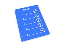 To do list. Blue to do list with copy space isolated on white background royalty free illustration