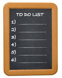 To do list. Chalkboard with to do list words Royalty Free Stock Images