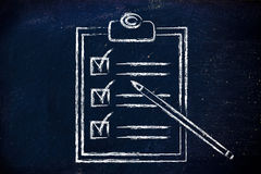 To do list with all tasks completed. Completed To Do list with tasks ticked off Royalty Free Stock Image