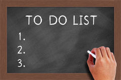 To do list on Blackboard. Handwritten chalk To do list on the blackboard Royalty Free Stock Images