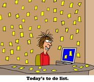 To Do List. Business cartoon about an overwhelming to do list royalty free illustration