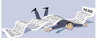 To do list. Businessman knocked down by a endless to-do list, EPS 8 vector illustration, no transparencies vector illustration