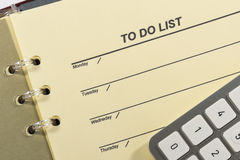 To do list and calculator. Royalty Free Stock Photo
