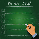 To do list chalk on a blackboard 3d hand Royalty Free Stock Photography